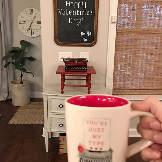 Happy Valentine's Day, friends!  Just wanted to wish you a wonderful day and thank you all for your honest opinions regarding my post and stories yesterday!  I loved hearing from each one of you and plan to do that more, because it was a lot of fun and so helpful!  Kiss your loves a little extra today! 💕 #ovnhome . . #valentinesday#homedecor#happyheartsday#yourejustmytype#homestyling#oldtypewriter#mymorningmymug#morningbrew#morningcoffee#mymorningview#selectblinds#redtypewriter#typewriter