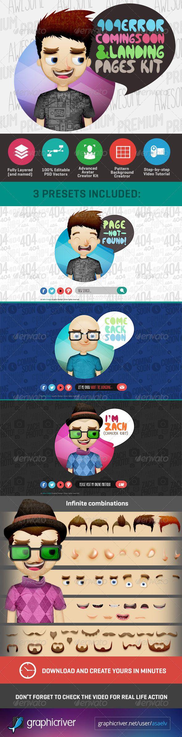 404 Page with Avatar Creator Kit - 404 Pages Web Elements  -------------  Wil je minder 404's? of gewoon een betere website? Neem dan eens vrijblijvend contact op met Budeco http://budeco.nl/contact