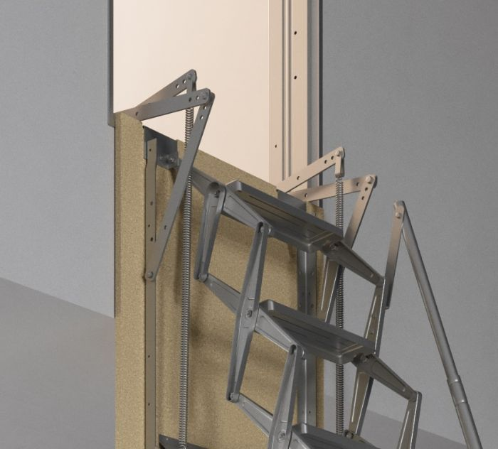 Premio Vertical Wall Steel Concertina Loft Ladder | Loft Centre