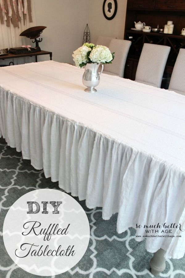 How to easily make a ruffled tablecloth from an old bedskirt ... even if you're not a sewer!