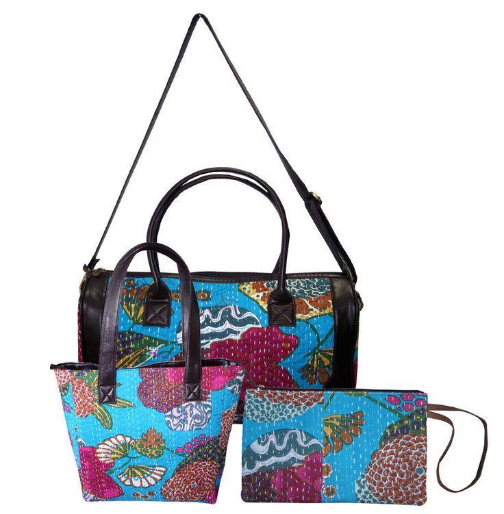 Women's 3Pcs Set Cotton Shoulder Bag Handbag Tote Bag With Kantha Clutch BagGift #Handmade #ShoulderBagToteBagClutchBag