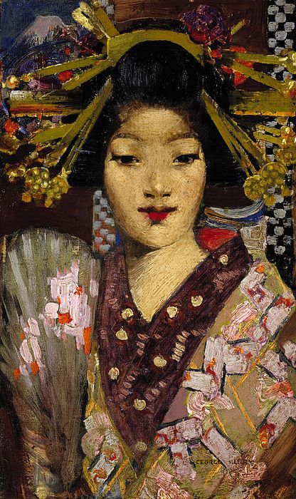 George Henry, Geisha Girl. 1894.  Interest in oriental themes was stimulated in Glasgow by an exhibition of Oriental art held in the city in 1882.