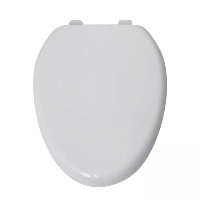 Traditional Elongated Self Closing Toilet Seat   White