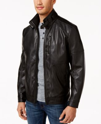Calvin Klein Mens Faux-Leather Jacket