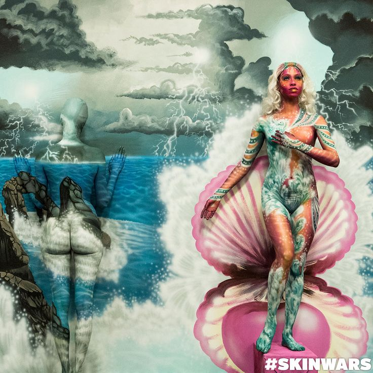 Alison's finale painting skin wars season 3. Love this representation of Aphrodite w/ the storm