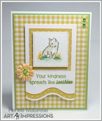 Art Impressions Rubber Stamps: 4867 WC Foliage Set 2  4873 WC Cats Set  4903 WC Sentiments  Handmade cards for Easter.  Wonderful Watercolor Sets!