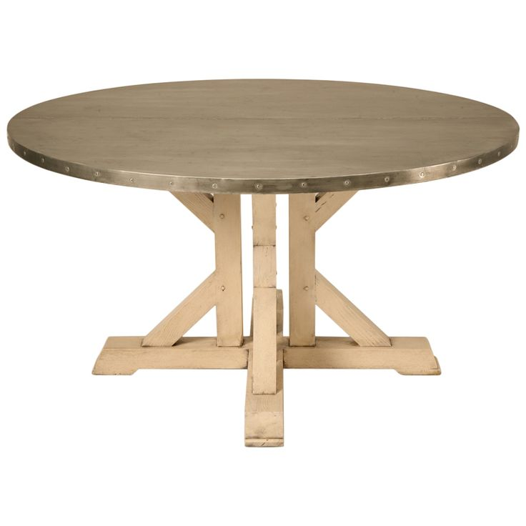 Amazing French 55' Round Zinc Topped Dining Table w/Painted Base | 1stdibs.com