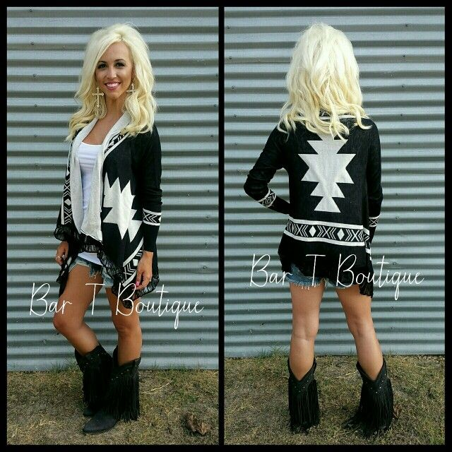 Black Tribal Cardigan ~ Follow @bar_t_boutique on Instagram to Shop weekly New Arrivals