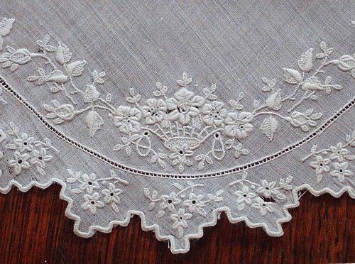 Em's Heart Antique Linens -Antique Linen Monogram Bridal Handkerchief