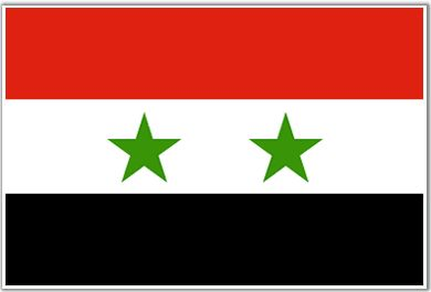 HISTORY: In the image above we see the flag that stands for Syria. There are four colors on the flag: green, red, white, and black. The red means freedom that Syria now has. The white represents innocence of the country, and the black stands for Syria's dark past. As far as I know the two stars mean nothing. These colors are used for many Arab countries flag's.