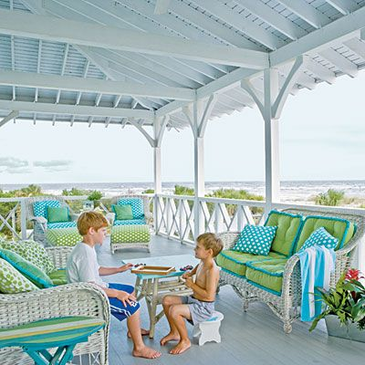 Happiest Rooms: Blue + Green - Polka dots and contrasting welts give these sea and sky shades a lighthearted twist.: Beaches Porches, Idea, Outdoor Rooms, Blue Green, Coastal Colors, Cushions, Coastal Living, Beaches Houses, Beaches Style
