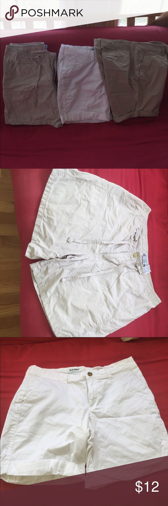 3 pairs cotton shorts 2 khaki and 1 white. Old navy and 1 Columbia Sportswear. All excellent condition. No stains or signs of wear. Shorts