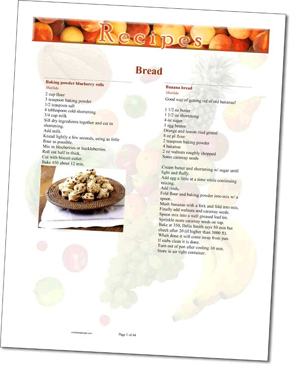 Homemade Cookbook Recipe Page