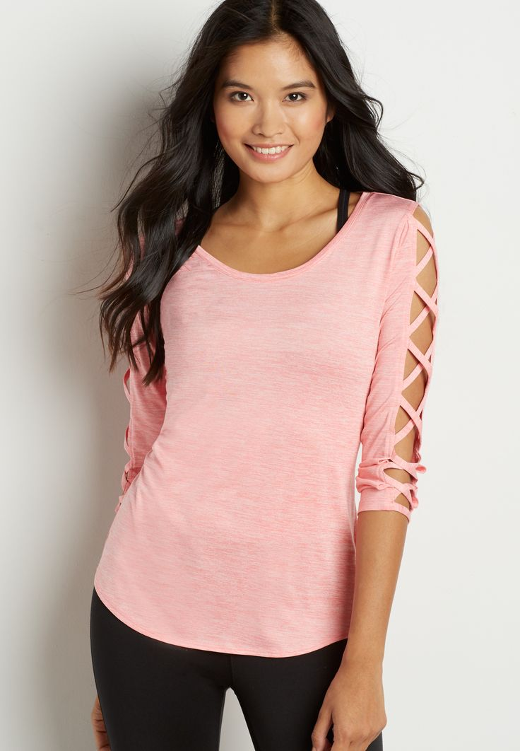 spacedye tee with strappy sleeves in pink punch $29