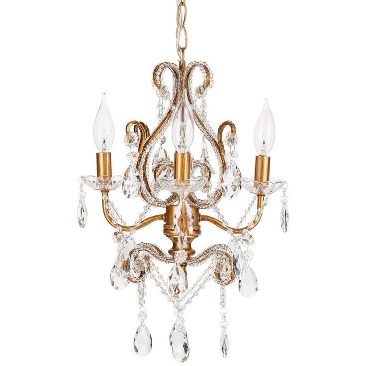 4 light mini crystal beaded plugin chandelier gold