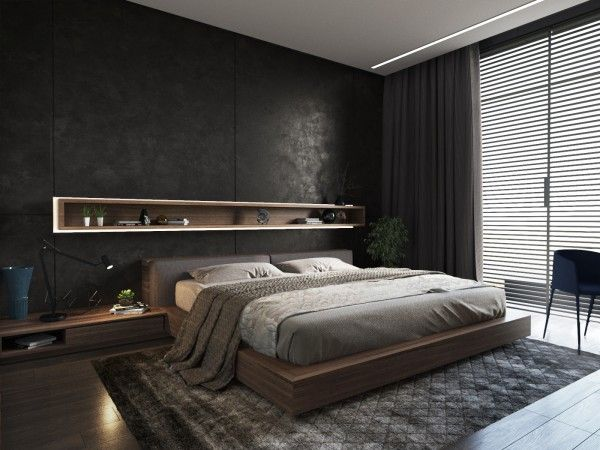 black masculine bedroom; contemporary; recessed contrast ply trim niche; strip light; low bed