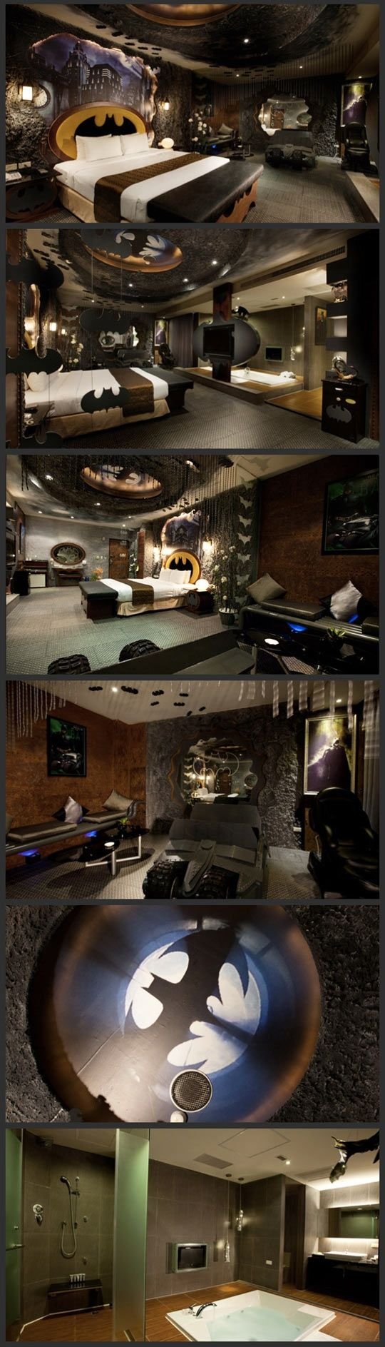 Batman inspired room. The Ultimate Man Cave. MAN CAVE?? I WANT THIS BATCAVE FOR MYSELF.