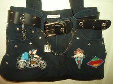Handmade FOR BIKERS ONLY Denim Handbag Made From Real Jeans Hogs Route 66 Studs