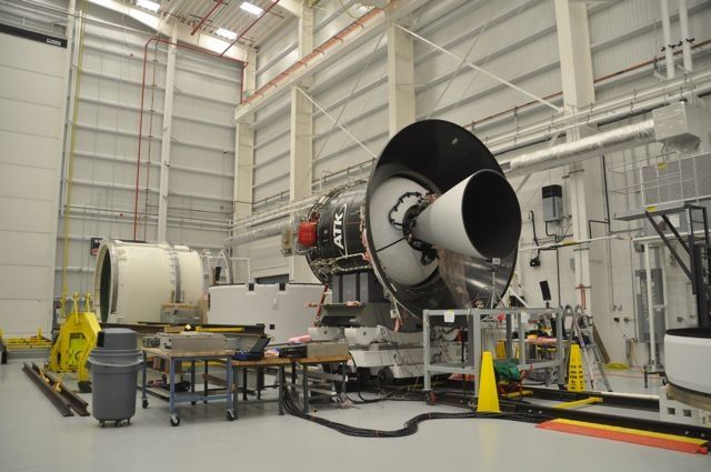 #Antares' 2nd stage Castor 30 solid rocket motor made by ATK in the Horizontal Integration Facility at #WallopsFlightFacility