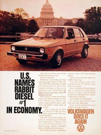 1978 Volkswagen Rabbit Sel Sedan Vintage Ad Achieves 53 Mpg Highway And 40 City U S Names 1 In Economy Volkswagoncliccars