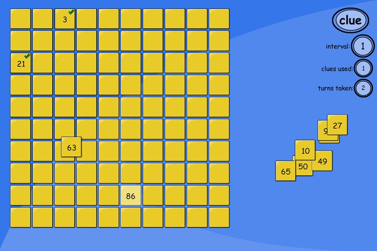 Number Square Puzzle - 10 missing numbers: Put the numbers back in their correct places in the blank number square. Explore the patterns in the grid, and notice the relationships between the numbers.