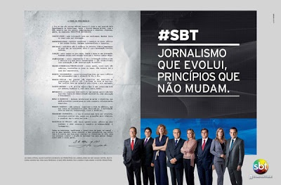 Em sua nova campanha publicitária, SBT destaca princípios do jornalismo.