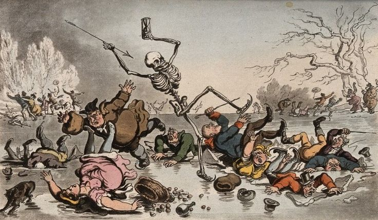 The dance of death: the skaiters by T. Rowlandson, 1816. The Wellcome Library, CC BY