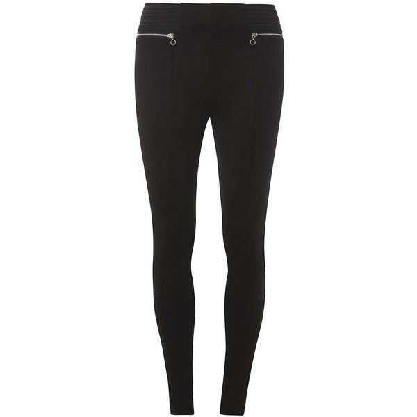 Dorothy Perkins Black Elastic Waist Zip Treggings ($33) ❤ liked on Polyvore featuring pants, leggings, black, zip pants, elasticated waist trousers, elastic waist pants, zipper leggings and zip leggings