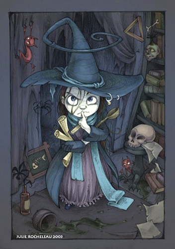 Cute little witch. She looks like she means business.