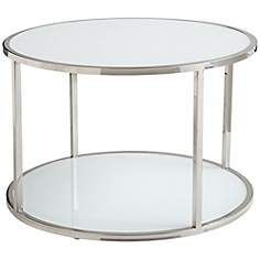 Compact And Contemporary, This Bi Level Stainless Steel And White Glass Coffee  Table Design Is A Perfect Fit For Modern Decor.