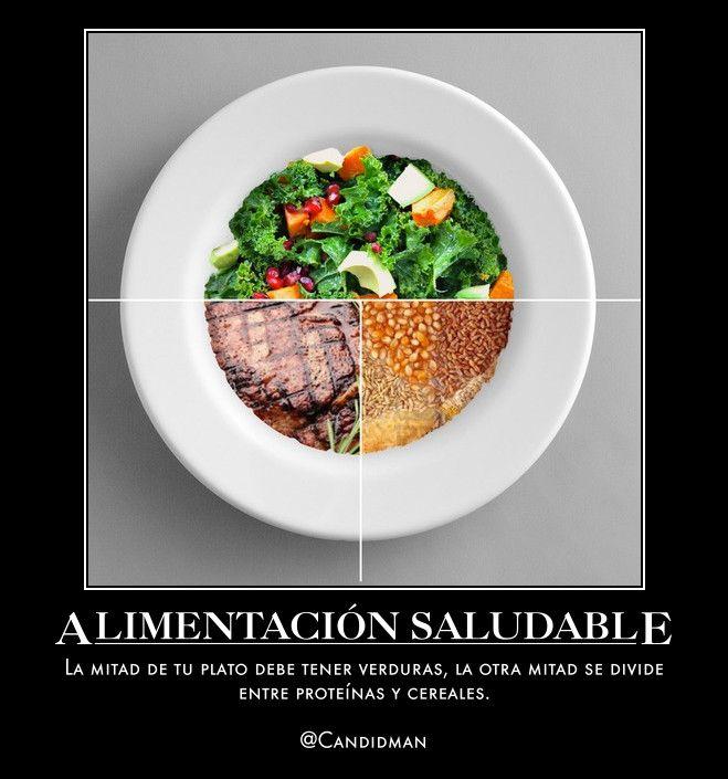 #Salud #Comida #AlimentacionSaludable La mitad de tu plato debe tener #Verduras, la otra mitad se divide entre #Proteinas y #Cereales. vía @candidman