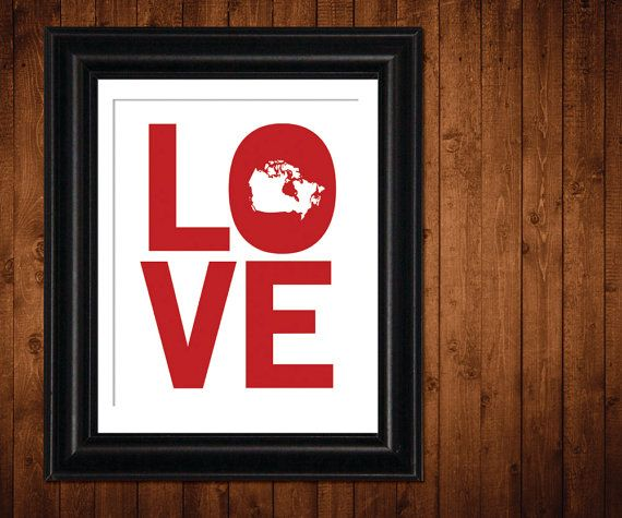 Canada Art Print I LOVE CANADA Inspirational by LittleMommyDesigns, 20.00