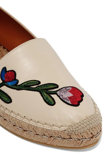 Gucci - Embroidered Leather Espadrilles - Neutral