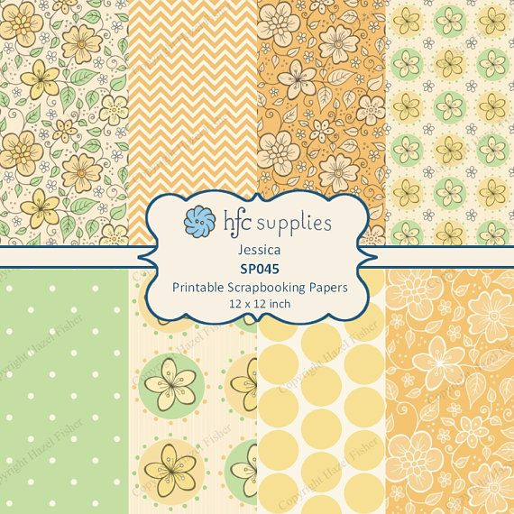 Yellow Flower Patterned Scrapbook Papers 'Jessica' hand drawn floral patterns with coordinating spots and chevron designs by hfcSupplieson Etsy. Digital Paper Set, spring, yellow, orange, green
