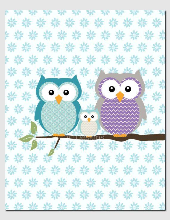 Purple Teal Nursery Art Owl Wall Art Kids Wall Art by vtdesigns