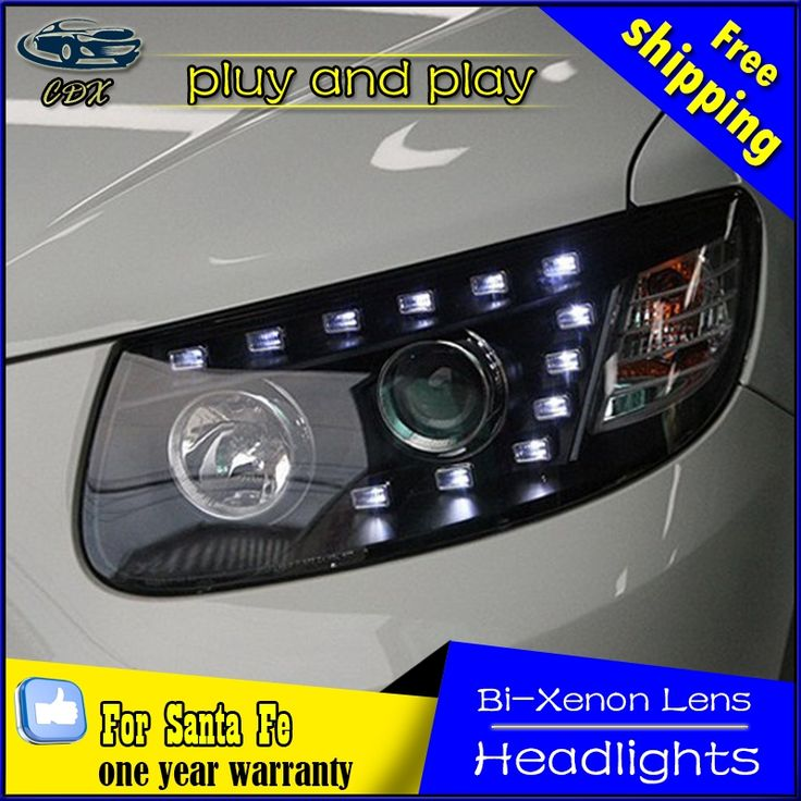 560.83$  Buy now - http://aliy0i.worldwells.pw/go.php?t=32747172883 - Car Styling Head Lamp for Hyundai Santa Fe Headlights 2010-2014 LED Headlight DRL Daytime Running Light Bi-Xenon HID Accessories