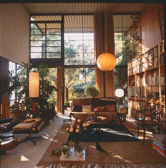 An original Ball Bubble Pendant in the Eames House by George Nelson