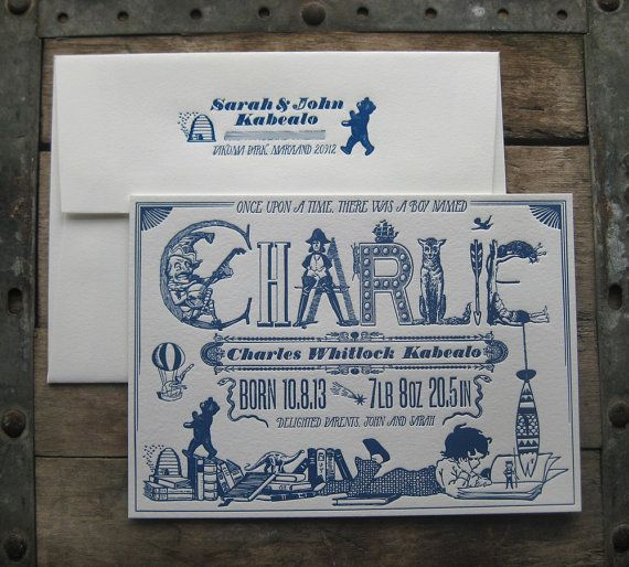 Magical Storytime Custom Design Letterpress Birth Announcements