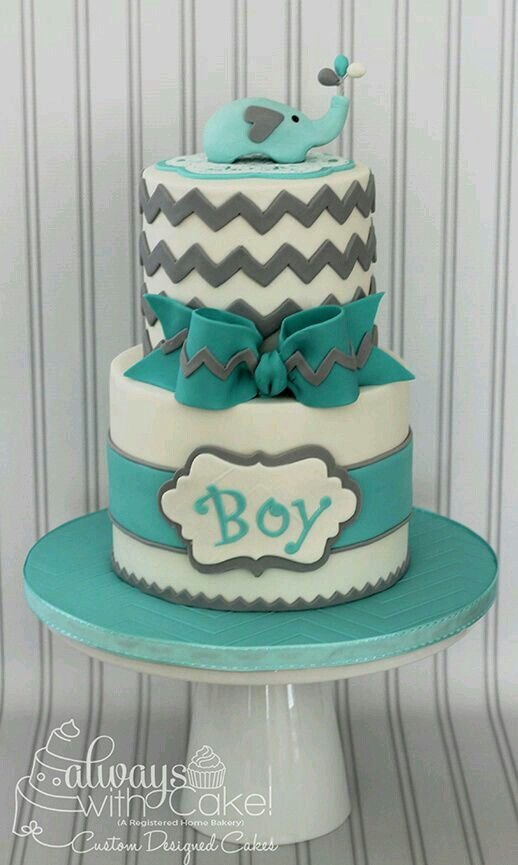 Chevron U0026 Elephant Baby Shower Cake   Would Change Colors To Navy Blue And  Lime Green