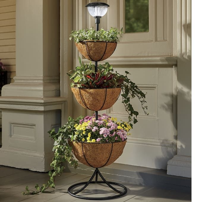 3 Tier Plant Stand With Solar Light Large Plant Stands Outdoor Plant Stand Plants
