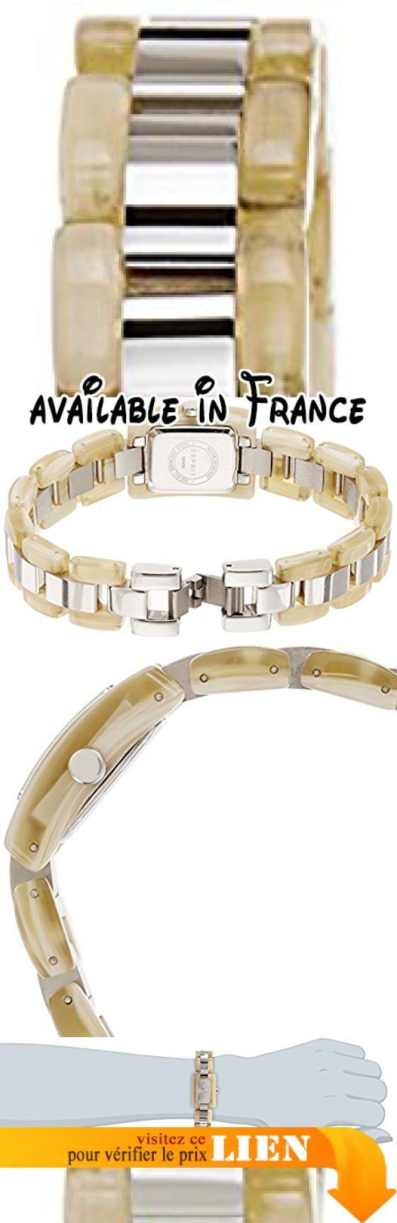 B00FKT4JNK : Esprit - ES106492001 - Montre Femme - Quartz - Analogique - Bracelet Acier inoxydable multicolore. Montre élégante simple et à la mode approprié pour la vie quotidienne de toutes les femmes. Bracelet multicolore en acier inoxydable avec clip - mesures du bracelet : longueur : 18.5 cm largeur : 14 mm. Boîtier rectangulaire dimensions du boîtier : 15x18 mm épaisseur du boîtier : 7.6 mm et la couleur du boîtier : argenté couleur du cadran : argenté.