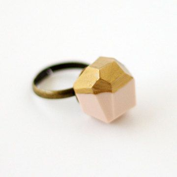 Gold Dipped Ring Pink  by Jennifer Hagler: Rings Pink, Dips Pink, Inspiration Boards, Dips Rings, Goldpink Dips, Gold Pink Dips, Gold Dips, Dips Geo, Amm Jewelry