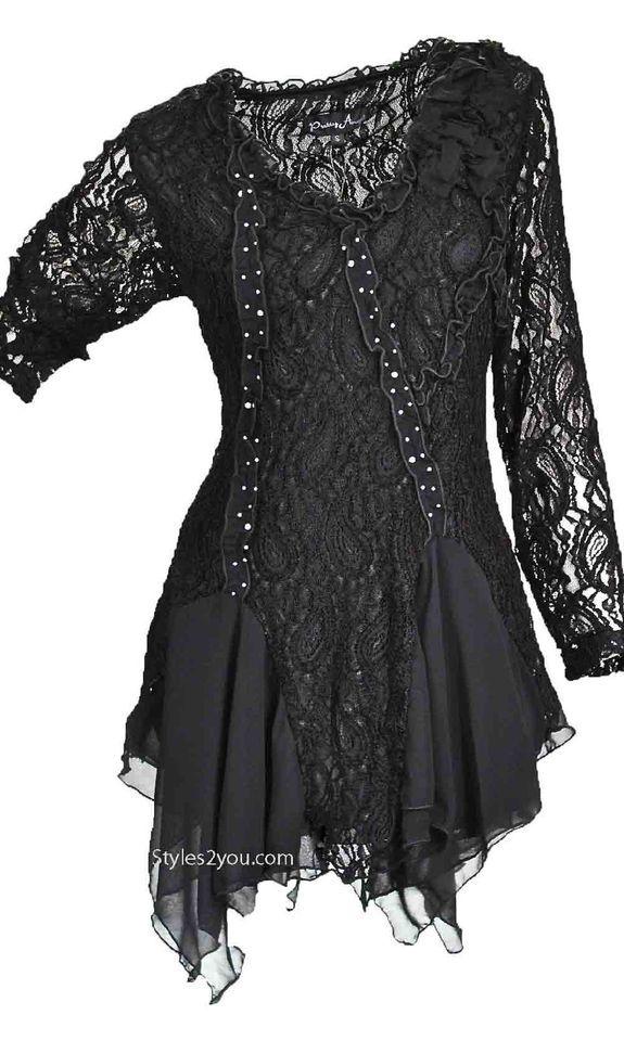 Pretty Angel Clothing Samantha PLUS SIZE Tunic In Black 10691BK