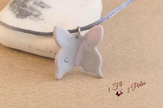 Collier Pendentif Papillon Rose et Gris à paillettes  Cadeau
