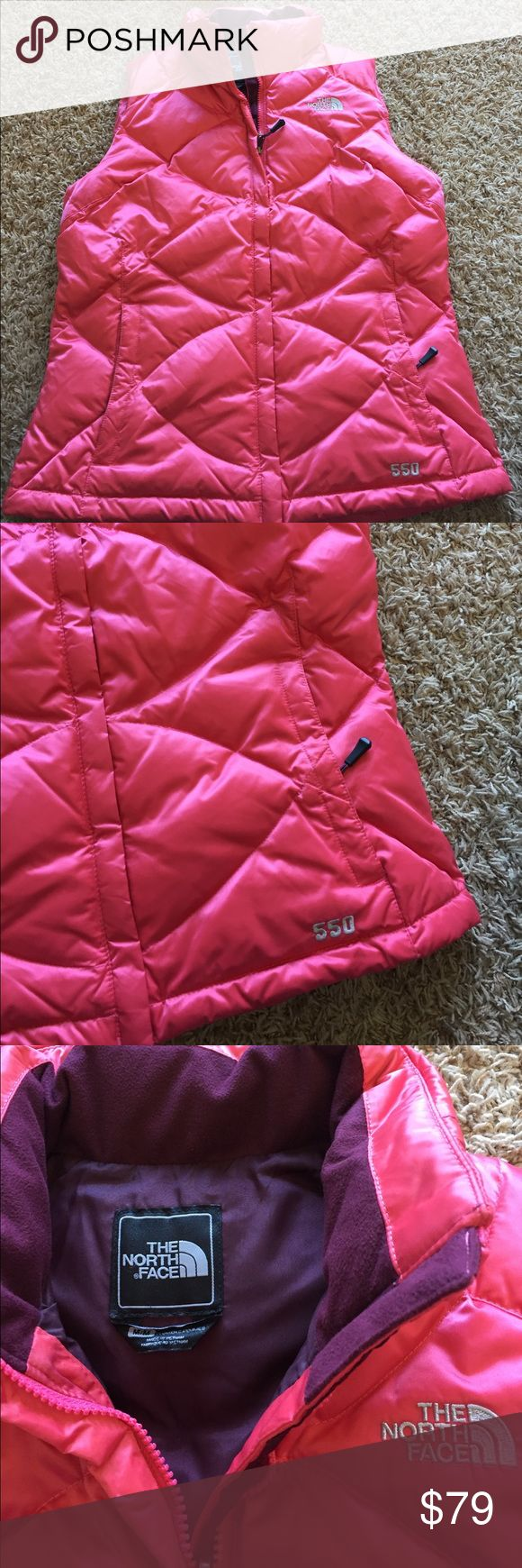 THE NORTH FACE Medium Pink Puffer Vest Bright The north face Pink Puffer Vest- great condition! Thanks for shopping🌺 The North Face Jackets & Coats Vests