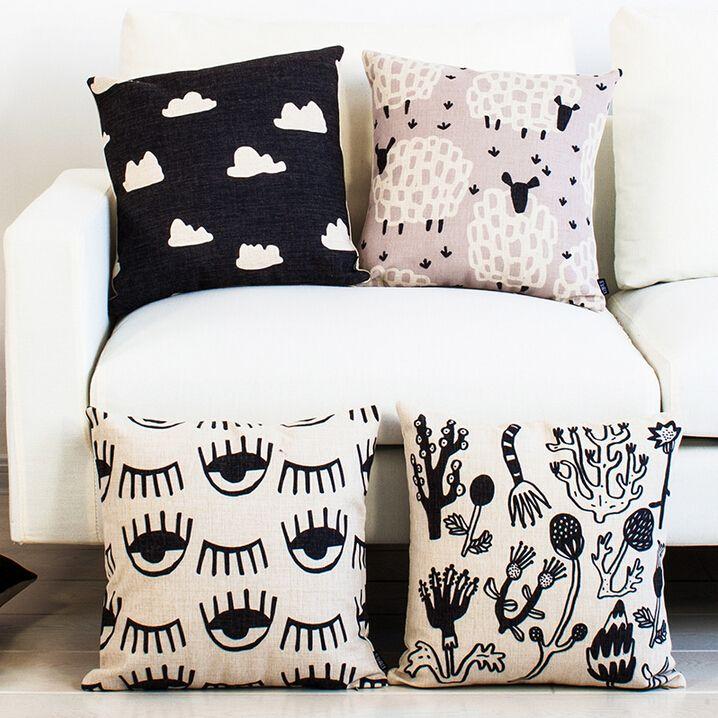 Aliexpress.com: Comprar Algodón de lino casa sofá cojín cuadrada decorativa Throw Pillow caso de la historieta hermoso lindo nube Big Eyes impreso 4 tipos de funda de almohada de impresión fiable proveedores en Deep Design Co.,Ltd