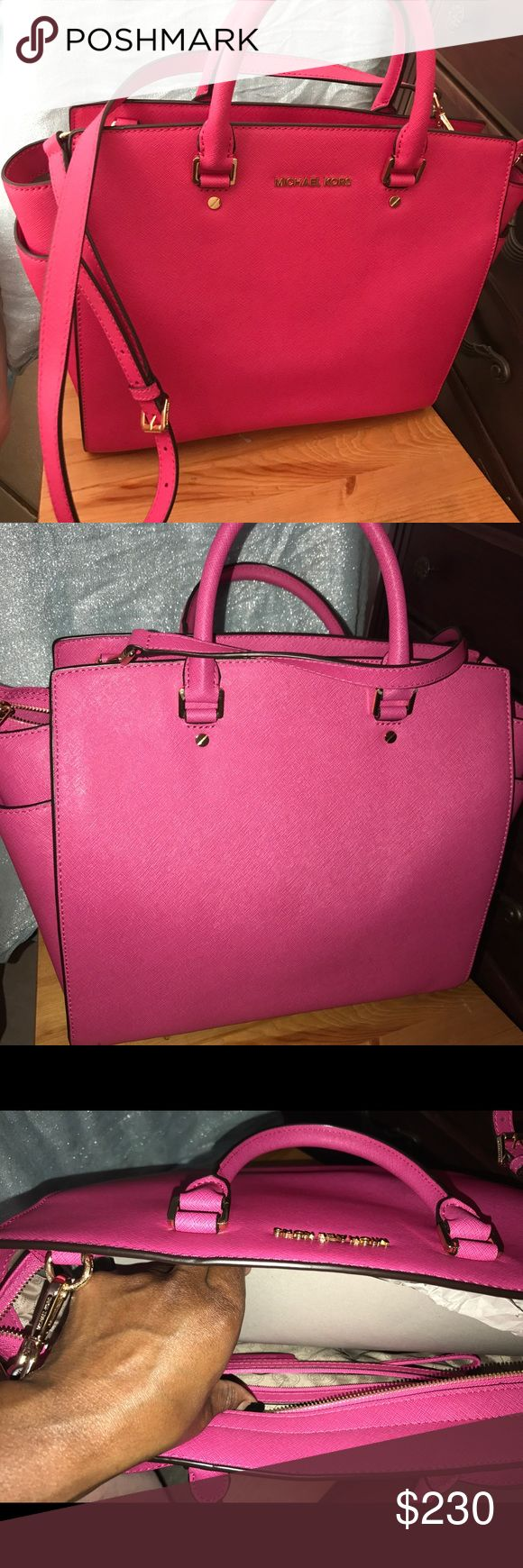 Pink Michael Kors bag Brand new pink Michael Kors handbag with the duster bag used once with no marks of any sorts. In impeccable condition like brand new. Michael Kors Bags Satchels