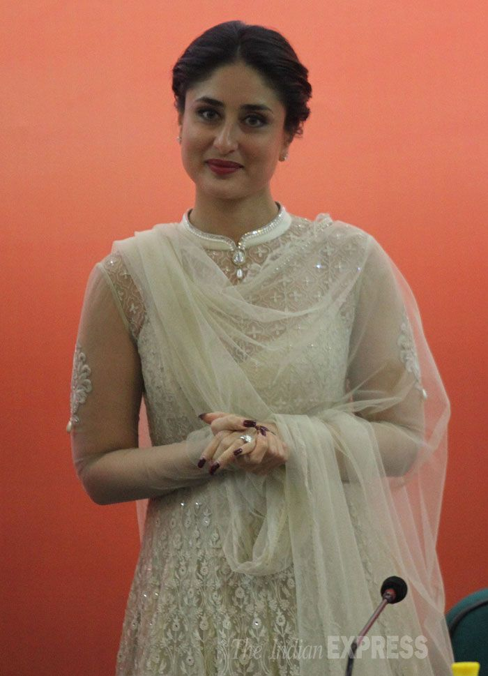 Kareena Kapoor was dazzling in a white Tarun Tahiliani creation at the launch of child-friendly schools and systems package at UNICEF event.