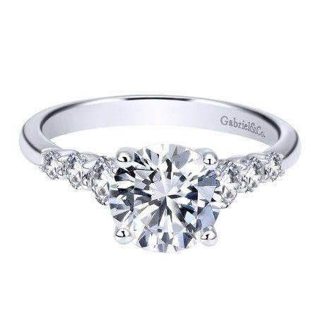 14K White Gold 1.50cttw Prong Set Graduated 7-Stone Round Diamond Engagement Ring