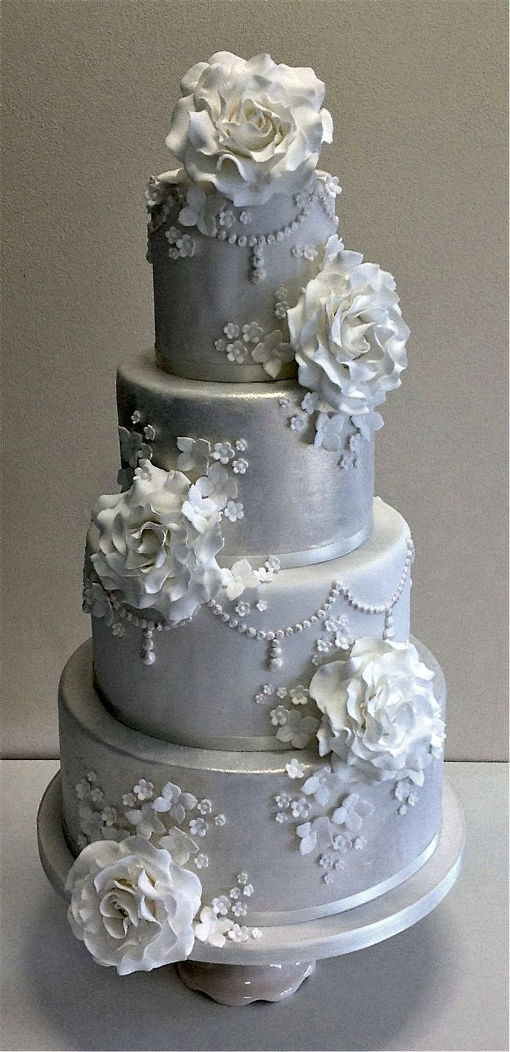 silver fondant wedding cake white fondant gold detailing navy flowers blush pink 19860